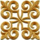 Gold trim fleur de lis fringe boho retro sew applique iron-on patch new S-1095