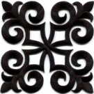 Black trim fleur de lis fringe boho retro sew applique iron-on patch new S-1094