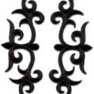 Black trim fringe leaves boho applique iron-on patches pair new S-1086  WE SHIP ANYWHERE FOR FREE!