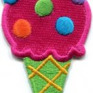 Ice cream cone 70s retro fun dessert sweets kids applique iron-on patch S-382