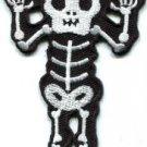 Skull skeleton goth punk emo horror biker sew applique iron-on patch Large S-427