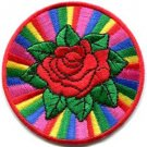 Rainbow rose retro boho gay lesbian LGBT applique iron-on patch S-1063