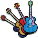 Lot of 4 guitar acoustic flamenco musical instrument appliques iron-on patches