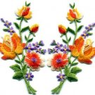 Orange roses pair flowers floral bouquet applique iron-on patch S-802 WE SHIP ANYWHERE FOR FREE!