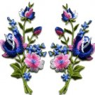 Pink blue roses flowers floral bouquet applique iron-on patches pair S-986 FREE WORLDWIDE DELIVERY!