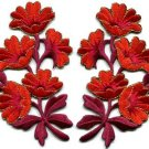 Red orange flowers pair floral bouquet boho applique iron-on patches new S-800