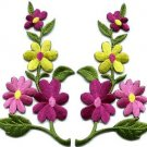Wild flowers yellow pink pair floral bouquet boho applique iron-on patch S-805
