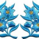 Blue lilies pair flowers floral bouquet boho applique iron-on patch new S-733