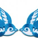 Lot of 2 bird tattoo swallow dove sparrow biker appliques iron-on patches blue C