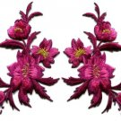 Fuschia pink flowers pair floral applique iron-on patches new S-981 WE SHIP ANYWHERE FOR FREE!