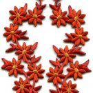 Burnt orange flowers floral boho granny chic applique iron-on patches pair S-978