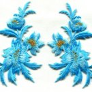 Baby blue flowers pair floral bouquet applique iron-on patches new S-982 WE SHIP ANYWHERE FOR FREE!