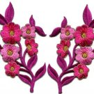 Hot pink flowers pair floral bouquet boho applique iron-on patches pair S-995