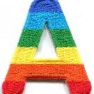 Letter A gay lesbian LGBT rainbow english alphabet applique iron-on patch S-908