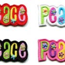 Lot of 4 peace sign hippie retro boho weed hippy appliques iron-on patches Small