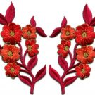 Red orange flowers pair floral bouquet boho applique iron-on patches pair S-992