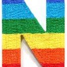 Letter N gay lesbian LGBT rainbow english alphabet applique iron-on patch S-921