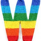 Letter W rainbow english gay lesbian LGBT alphabet applique iron-on patch S-930