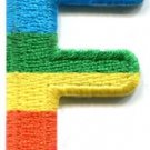 Letter F gay lesbian LGBT rainbow english alphabet applique iron-on patch S-913