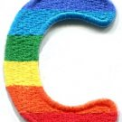 Letter C gay lesbian LGBT rainbow english alphabet applique iron-on patch S-910