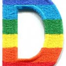 Letter D gay lesbian LGBT rainbow english alphabet applique iron-on patch S-911