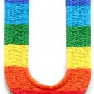 Letter U rainbow english gay lesbian LGBT alphabet applique iron-on patch S-928