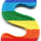 Letter S rainbow english gay lesbian LGBT alphabet applique iron-on patch S-926