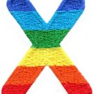 Letter X rainbow english gay lesbian LGBT alphabet applique iron-on patch S-931