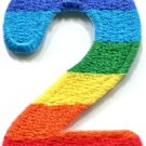 Number 2 counting two gay lesbian LGBT rainbow applique iron-on patch S-1022