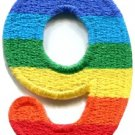 Number 9 counting nine gay lesbian LGBT rainbow applique iron-on patch S-1029