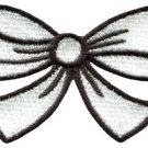White bow knot ribbon boho retro sew sewing applique iron-on patch new S-445