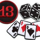 Lot of 3 lady luck poker ace dice cards lucky 13 applique iron-on patches L-5