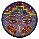 Aum om infinity hindu yoga eyes of Buddha hippie applique iron-on patch new T-39