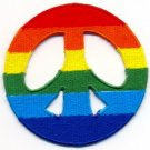 Peace Sign gay lesbian pride rainbow LGBT applique iron-on patch sm. new T-19