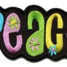 Peace sign hippie retro embroidered iron-on patch S-30