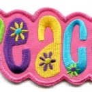 Peace sign hippie retro embroidered iron-on patch S-34
