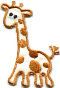 Giraffe baby animal kids applique iron-on patch S-306