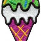 Ice cream cone retro fun applique iron-on patch S-198