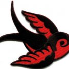 Bird tattoo swallow dove swiftlet sparrow applique iron-on patch new Small S-593