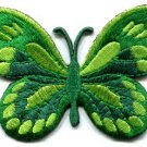 Butterfly hippie green embroidered iron-on patch S-166