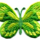 Butterfly hippie green embroidered iron-on patch S-167