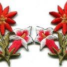 Orange lilies pair flowers floral bouquet boho applique iron-on patch new S-608