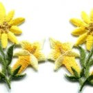 Yellow lilies pair flowers floral bouquet boho applique iron-on patch new S-609