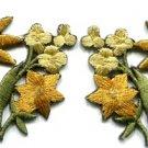 Gold golden lilies pair flowers floral bouquet boho applique iron-on patch S-612