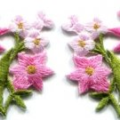 Pink lilies pair flowers floral bouquet boho applique iron-on patch new S-611