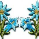 Light blue lilies pair flowers floral bouquet boho applique iron-on patch S-614