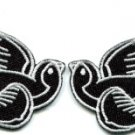 Lot of 2 bird tattoo swallow dove sparrow biker appliques iron-on patches white