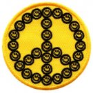 Smiley face peace sign hippie retro iron-on patch S-24