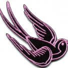 Bird tattoo swallow dove swiftlet sparrow biker applique iron-on patch Lg. S-359