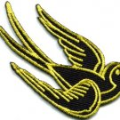 Bird tattoo swallow dove swiftlet sparrow biker applique iron-on patch Lg. S-358